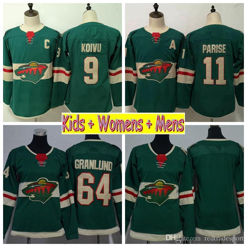 best service 51f52 c3128 2019 Youth Minnesota Wild Hockey Jersey 11 Zach Parise 9 Mikko Koivu 64  Mikael Granlund Home Green Kids Womens Mens Stitched Shirts