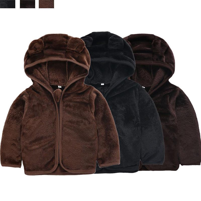 aed4ffe71e47 Kids Coat 3D Bear Ear Boys Girls Hooded Coat Long Sleeve Jacket ...