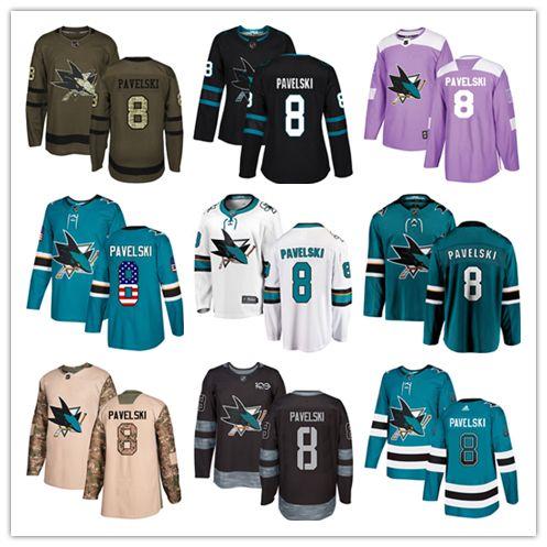 ... release date 2019 san jose sharks jerseys 8 joe pavelski jersey ice  hockey men women youth bb3b0a891