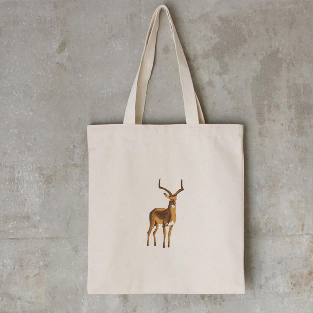 Deer Print Painting Art Creative Shopping Bags Canvas Storage Bags Women Handbag Reusable Folding Grocery Eco Tote Literary
