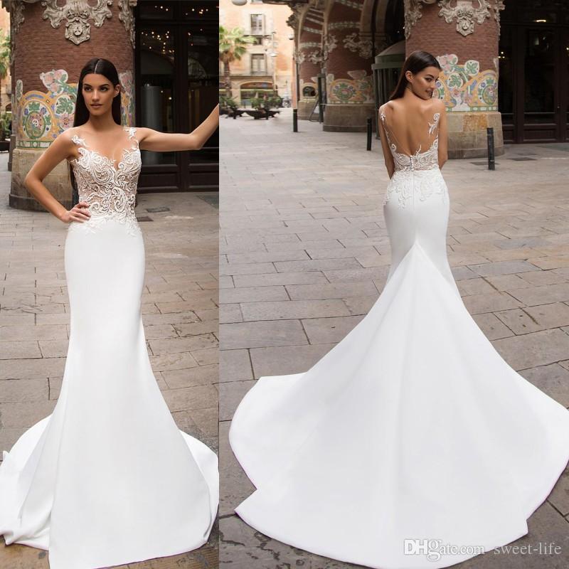 White Backless Lace Mermaid Wedding Dresses 2018 V Neck: 2020 Sheer V Neck Lace White Mermaid Wedding Dress