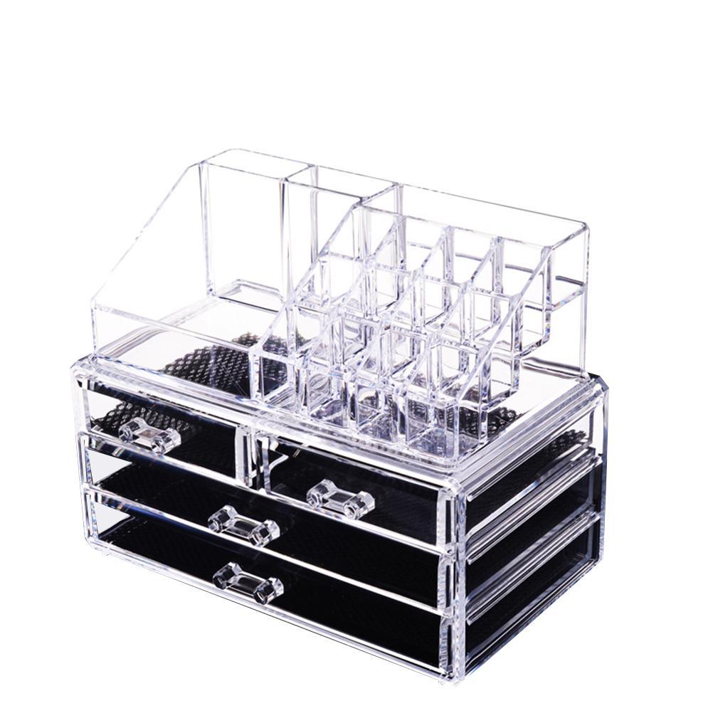 ea4647b62 Compre 1 Unid 4 Tier Maquillaje Organizador Transparente De Gran Capacidad  Joyería Apilable Maquillaje Organizador Cosmético Caja De Almacenamiento  Encimera ...