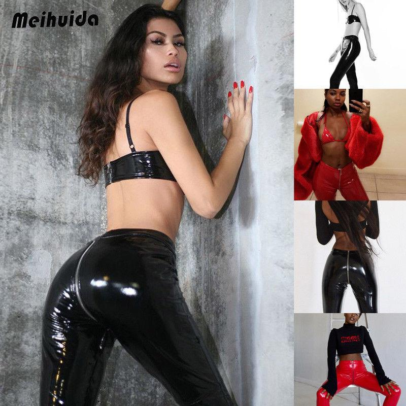 0a6d9d37119439 2019 Autumn NewWomen Pu Latex Wet Look Leggings Leather Pants High Waist  Vinyl Disco Long Trousers Harajuku Clubwear From Biwanrou, $26.21 |  DHgate.Com