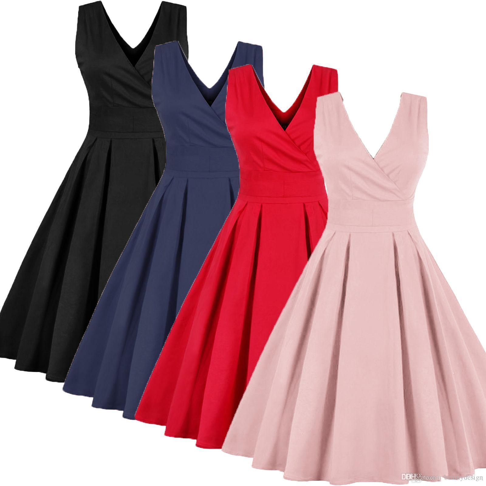 cc6d88019848 Acquista Abiti 2019 Nuovi Abiti Estivi Ladies Vintage Dress 4XL Plus Size  Senza Maniche Red Sexy Deep Scollo A V Party Dress FS0494 A  16.65 Dal ...