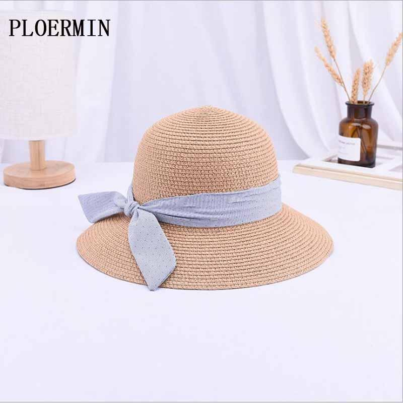 682ad364c4d PLOERMIN Newly Arrived Summer Sun Hats For Women Bow Fashion Design Women  Beach Sun Hat Foldable Outdoor Travel Straw Hat Eric Javits Flat Brim Hats  From ...