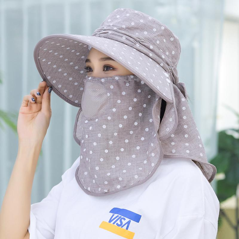 2019 Summer Sun Hats For Women Ponytail Bucket Hats Beach Hat Mask ... 0bbe5ee0b16a