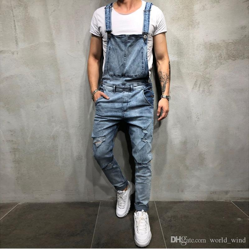 b45b244b18 2019 Hot Sale 2019 Fashion Mens Ripped Jeans Jumpsuits Street Distressed  Hole Denim Bib Overalls For Man Suspender Pants Size S XXXL  347597 From  World wind ...