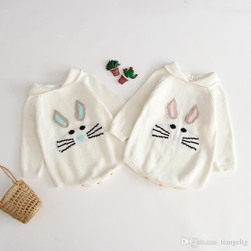 Baby Autumn Knitted Triangle Romper Long Sleeve Turn-Down Collar Rabbit Pattern Wool Pullover Kids Designer Onesies Girls Soft Outfits 0-3T