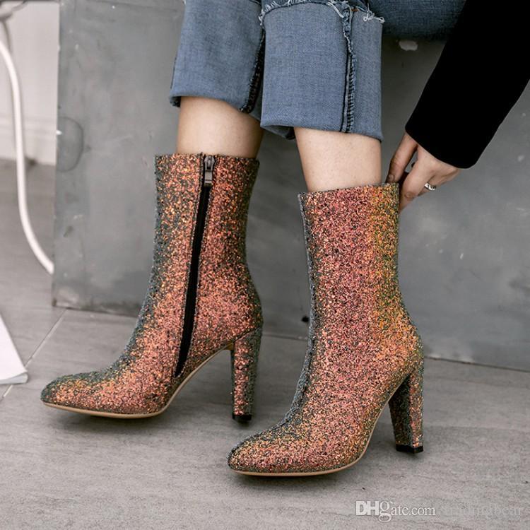 Artı Boyutu 33 44 45 46 TradingBear Shinny Payetli Beyaz Tıknaz Topuklu Ayak Bileği Patik Lüks Kadın Tasarımcı Çizmeler