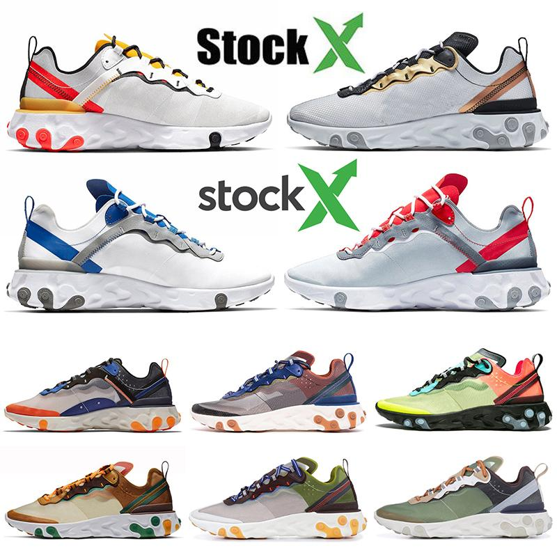 nike react element 87 55 Wholesale preiswerte React 55 Element 87 UNDERCOVER Herren Lauf Chaussures Tour-Gelb Metalic Gold-Frauen-Trainer Sport Sneaekrs Auf X