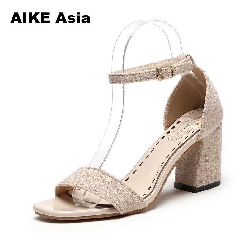 0330ca5f56c Women Pumps Sexy High Heels Summer Suede Ladies Thick Heel Ankle Strap Open  Toe Peep Toe Gladiator Sandals Zapatos Mujer Strappy Heels Geox Shoes From  ...