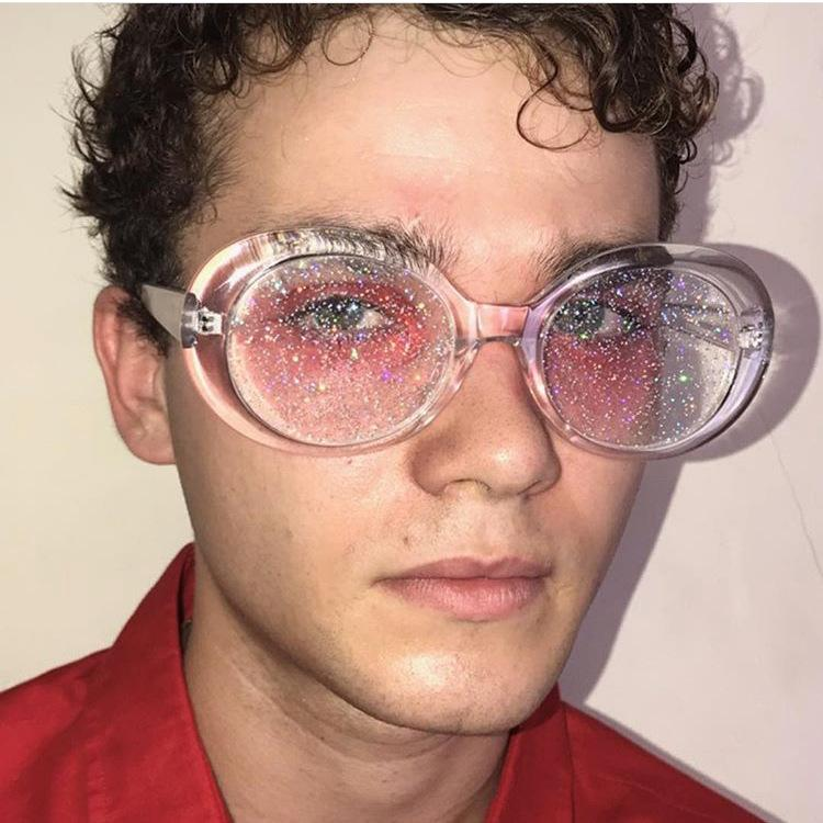 Oval Sun 2018 Eyewear Glitter Women Frame Glasses Kurt Lenses Candy Crystal Sunglasses Classic Uv400 Colorful Cobain Men KclJT5uF13