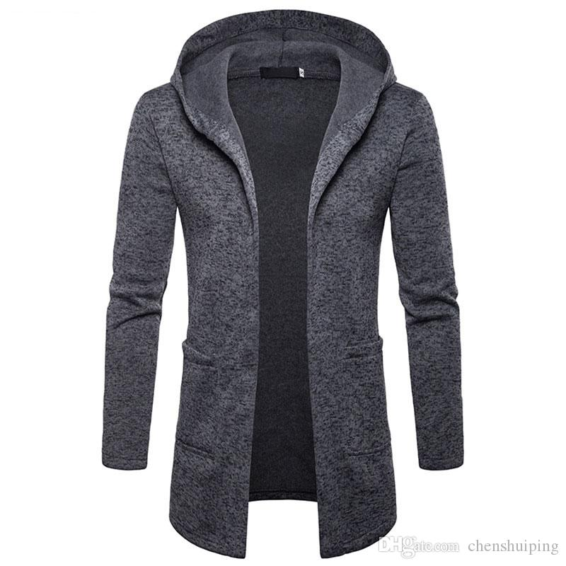 f710950f72da 2019 New Men Long Sleeve Solid Color Hooded Trench Coats Casual Sportswear  Outerwear Men S Clothing From Chenshuiping