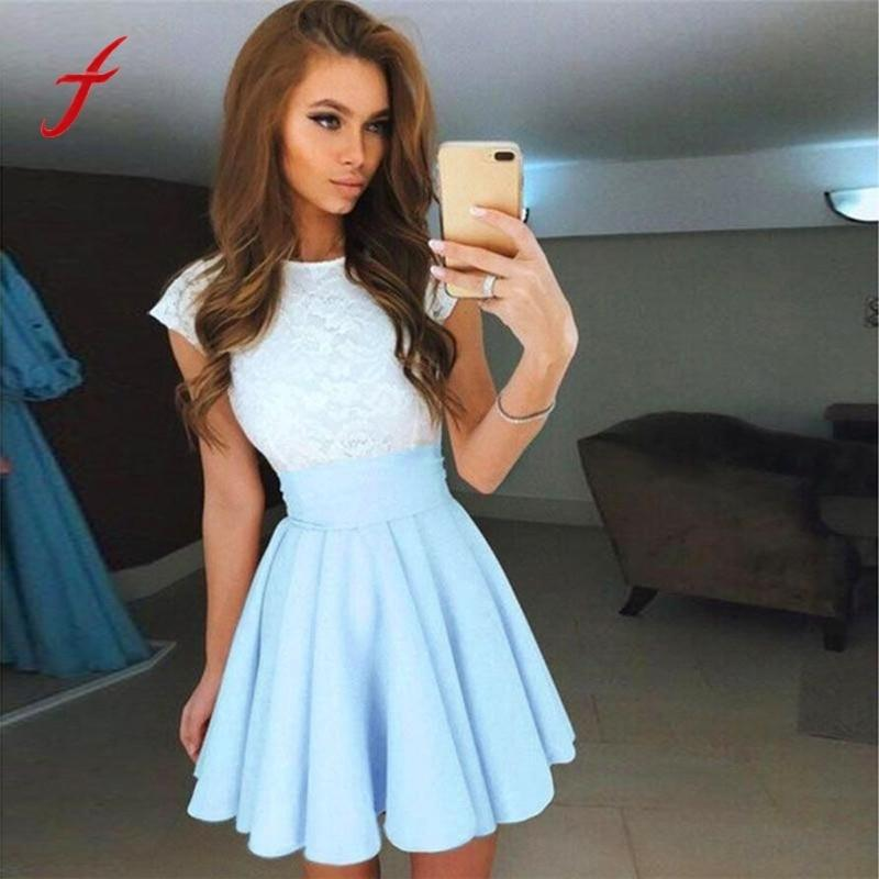 Womens Lace Party Cocktail Mini Dress Ladies Summer Short Sleeve Skater  Dresses 2019 Summer Dress Women Vestidos Playa Silver Dresses Bride Dress  From ... 0b55ab2cc