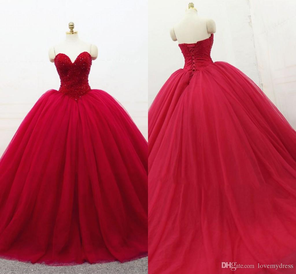 e2a4690bb17 Dard Red Prom Quinceanera Dresses Crystal Beaded Strapless Lace Up Tulle Ball  Gown Sweet 16 Dresses Prom Gowns Graduation Dress 2019 Cheap Formal Dresses  ...