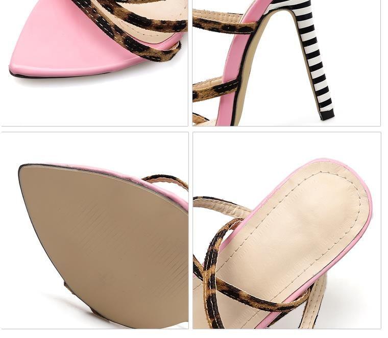 Fashion pink yellow striped leopard printed cross strappy high heels sandals designer luxury women slides size 35 To 40