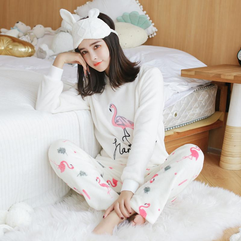 914e1fae0 2019 Women Pajamas Sets 2018 Winter Thick Warm Flannel Pajama Sets Cartoon  Pyjamas Women Homewear Animal Sleepwear Female Pajama From Newcute, ...