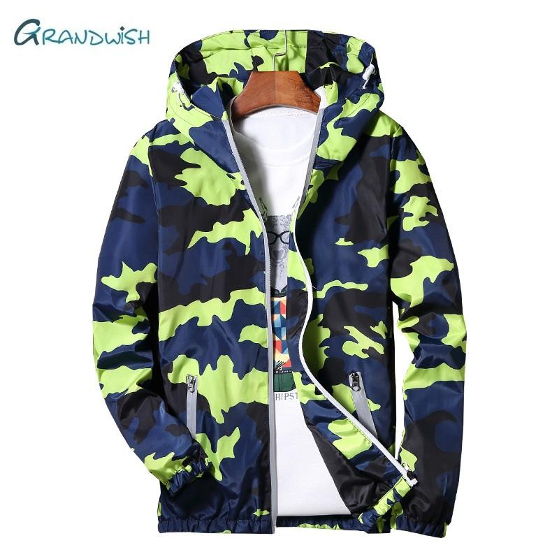 46724bfa65eb Grandwish New Autumn Men Bomber Jackets Casual Thin Hooded 3m Reflective  Summer Camouflage Jacket Men Plus Size M 5XL
