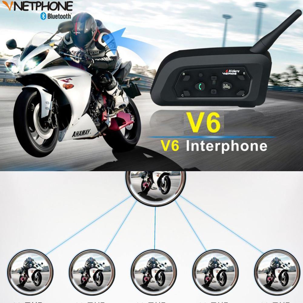 Talkie-walkie professionnel de casque de moto Bluetooth V6 pour 6 coureurs sans fil intercomunicador Interphone Helmet Intercom