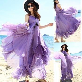 f806ffb6e25 Summer Women Sexy Boho Long Maxi Dresses Fairy Casual Purple White Khaki  Colors Beach Dresses S M L XL New Nice Fashion Summer Dresses Online Shop  Dresses ...