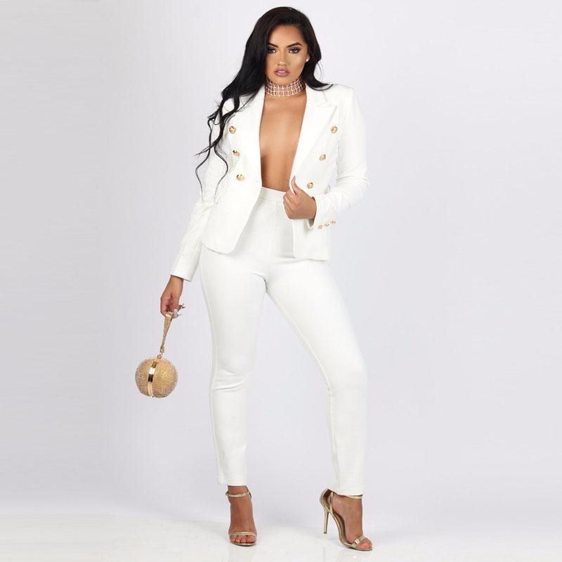 5b43e8c05 Conjuntos de mujeres Ropa de trabajo para damas Ropa de mujer Trajes de  negocios Elegante Conjunto de 2 piezas Trajes de mujer Traje de pantalón ...