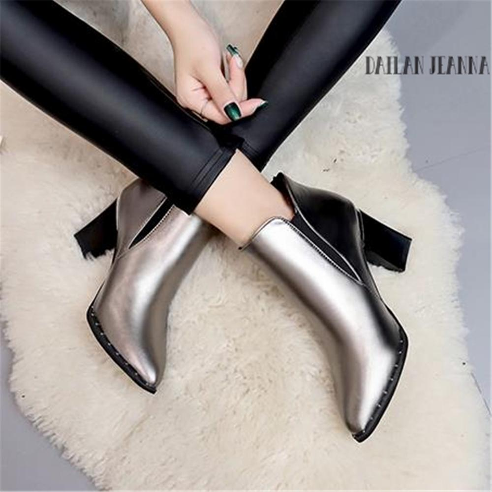 656babad146 2019 European Style Contracted Tide Girl Boots Woman British Style Rivet  Boots Martin Boots Autumn Winter 2018 New High Heeled Shoes Cowgirl Boots  Wide Calf ...