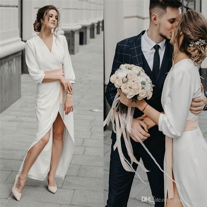 2019 Cheap V-neck Aline Chiffon Wedding Dresses With Long Sleeves and Sash Beach Bridal Wedding Dress