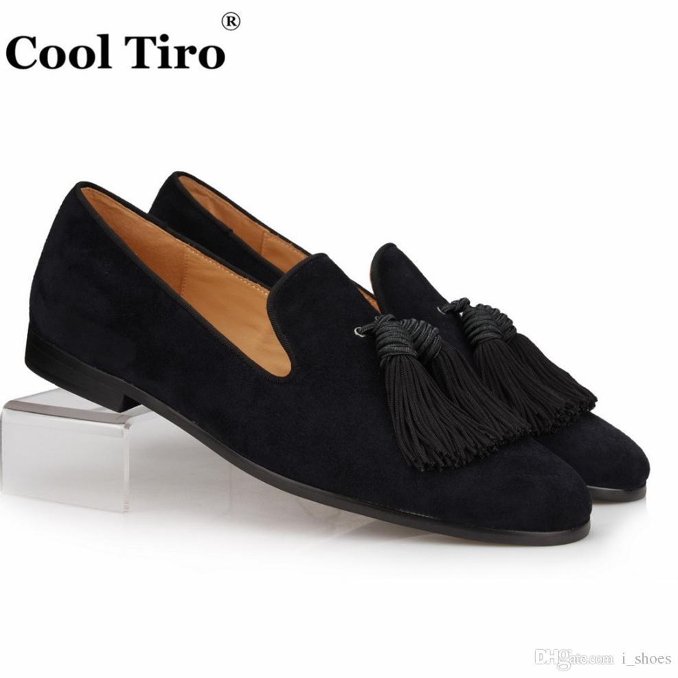 bed416d0a COOL TIRO Black Suede Loafers Men Handmade Tassels Slippers Wedding Dress  Shoes Slip on Gentlemen Male s flat Casual Plus size  362079