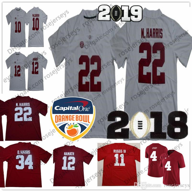 3f69f2e6f 2019 NCAA Alabama Crimson Tide  22 Najee Harris Damien 34 12 Joe Namath 8 Julio  Jones Josh Jacobs Red White Champions Orange Bowl Jerseys From Rosejerseys