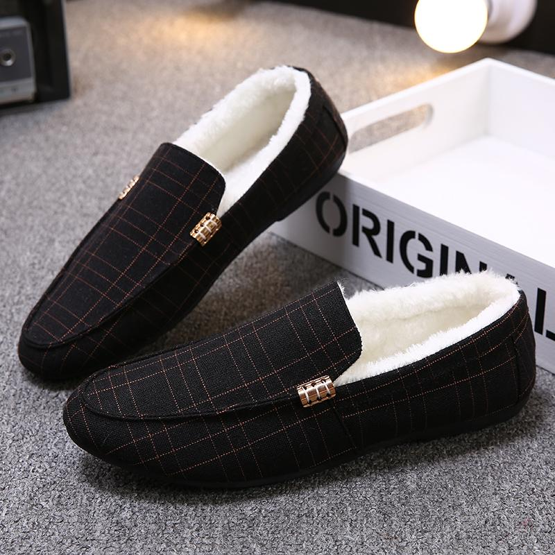 9c4c70e2284 Wholesale Men Flats Autumn Winter Loafers Light And Comfortable Driving Shoes  Female Loafers Plaid Winter Warm Shoe with Plus Online with  45.47 Piece on  ...
