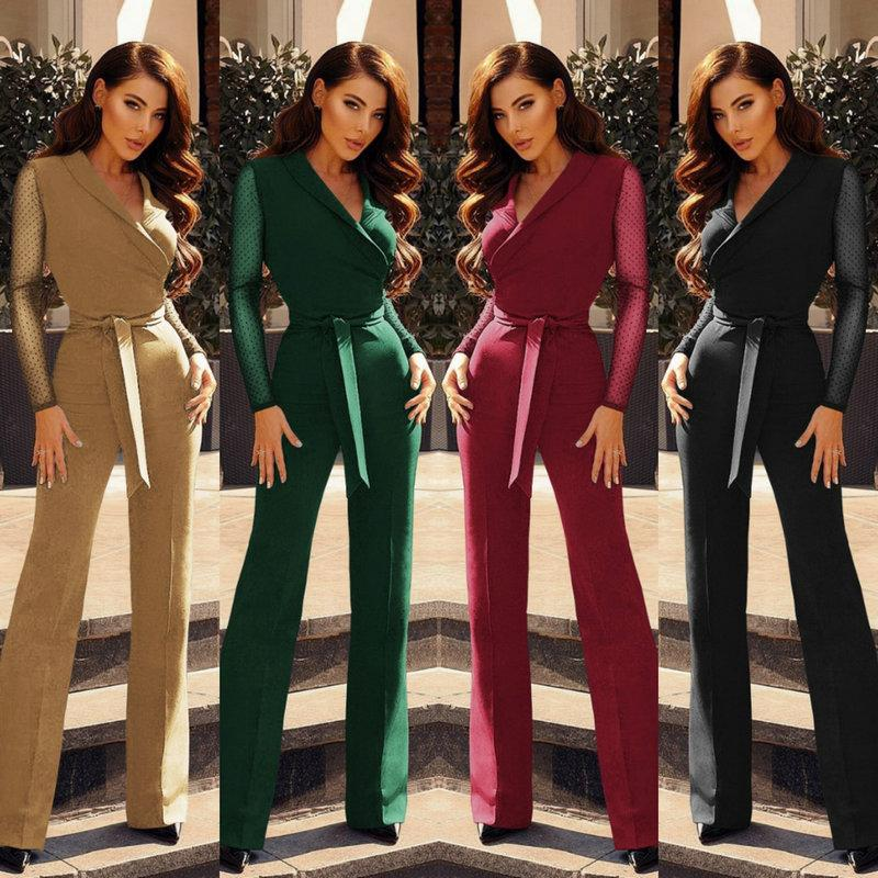 9180d55ff2 Fashion New V-neck Womens Jumpsuit Long Sleeve Dot Business Jumpsuit Ladies  Office Rompers Sexy Elegant Spring Autumn Jumpsuits Women Jumpsuit Long  Sleeve ...