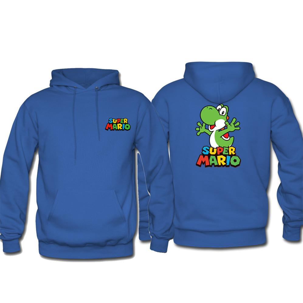 check out 75ea5 6c039 Super Mario Bros Luigi Koopa Felpa YoshiSerie Felpa con cappuccio Uomo  Felpe nere Fleece Streetwear 2019 FASHION