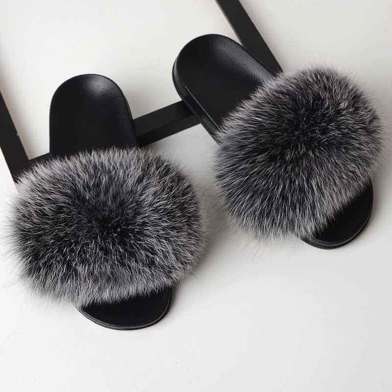 4bc02b2c772d Women Furry Slippers Real Fox Fur Home Slippers Colorful Ladies Fur Slides  Flat Flip Flops Female Rubber Chausson Femme Hiver Clogs For Women Shoe  Boots ...