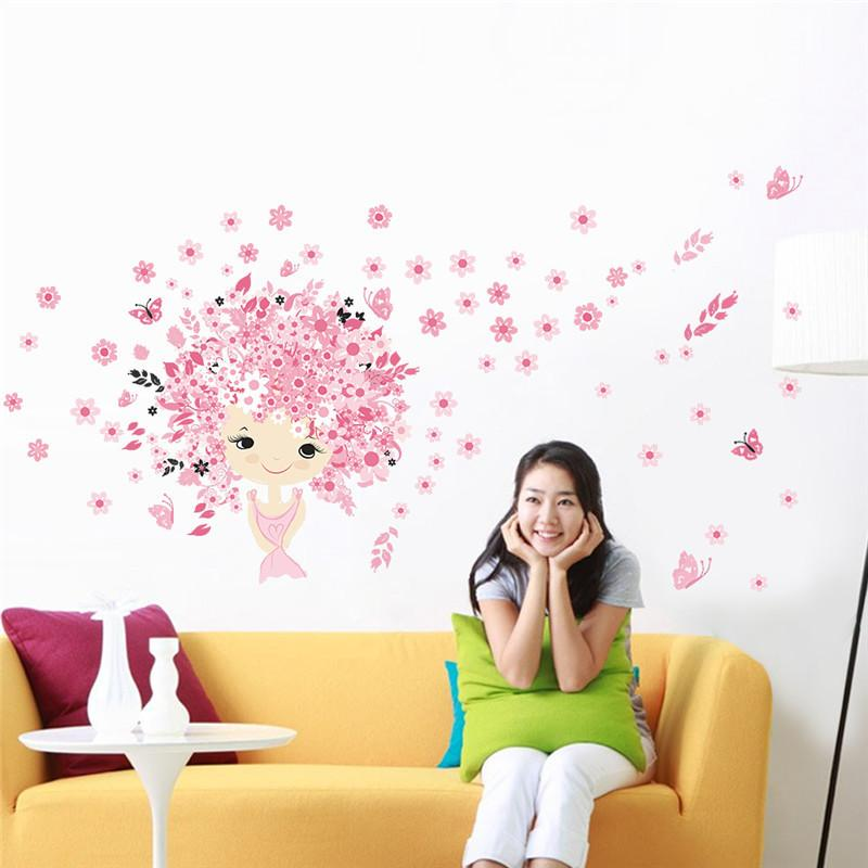Lovely Fairies Girl Butterfly Flowers Art Decal Wall Stickers For Kids Rooms Home Decor Mural Children Nursery Wall Decoration