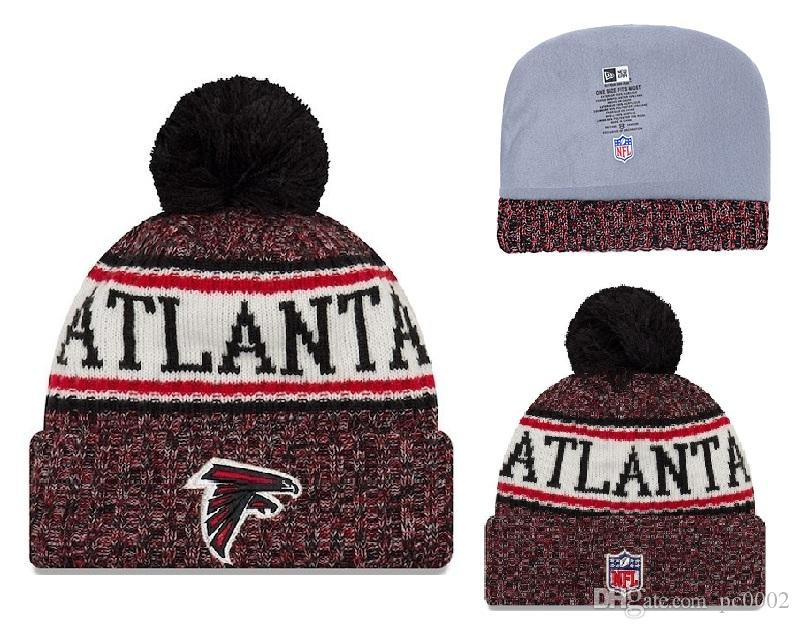 cb2d3e486 2019 Men S Atlanta Falcons New Red 2018 Sideline Cold Weather Official  Sport Knit Hat Toasty Cover Cuffed Knit Hat With Pom 03 From Pc0002