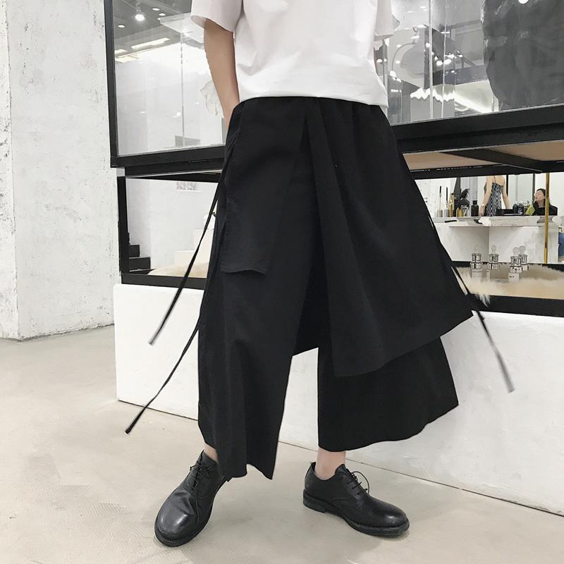 Mens Black Irregular Cotton Linen Elastic Waist Ankle-length Pants Loose Fit Wide Leg Trousers Free Shipping