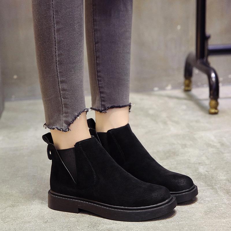 53fbfc398 Compre Botas Slip On Negro Botines Para Mujer Zapatos De Tacón Bajo De  Invierno Mujer Tamaño 35 40 Solid Botas Mujer Hjm89 A  22.45 Del Ycqz4