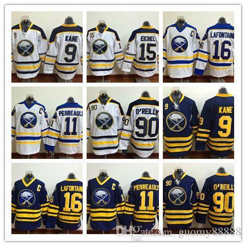 Buffalo Sabres Men Hockey Camisolas 15 Jack Eichel 90 Ryan O'reilly 16 Pat LaFontaine 9 Evander Kane 11 Gilbert Perreault Camisola Mens