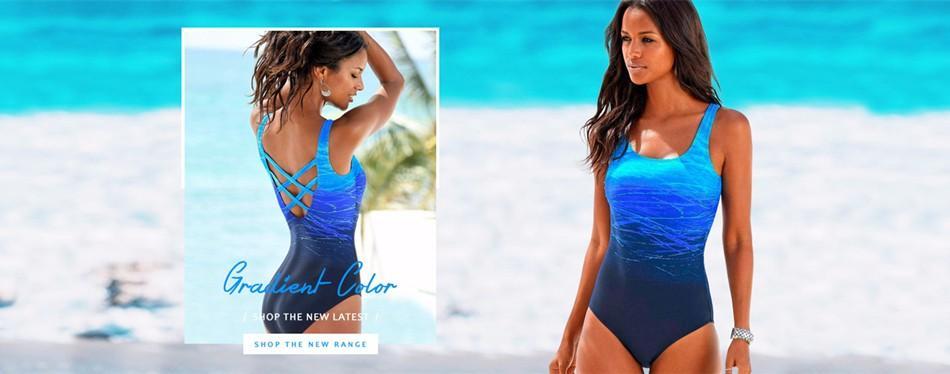 Degrade Tek Parça Mayo Kadınlar Vintage Mayo Criss Çapraz Geri Monokini Mavi Banyo Takım 2018 Plaj Kıyafeti Maillot De Bain
