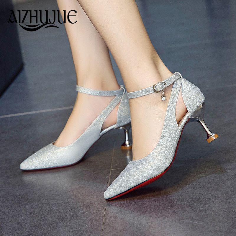 78b2b9067 Designer Dress Shoes Crystals Bling Pumps Women Elegant Thin High Heels  Fashion Buckle Point Toe Party Wedding Woman Pink Sliver Black Boat Shoes  For Men ...