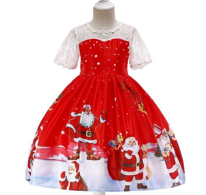 2a2f1868d7b6c Acheter 2019AAA Costume De Noël Enfants Robe De Fille Imprimée Jupe Père  Noël Robe Satin Spectacle Robe Flocon De Neige De  22.34 Du Anapple0925