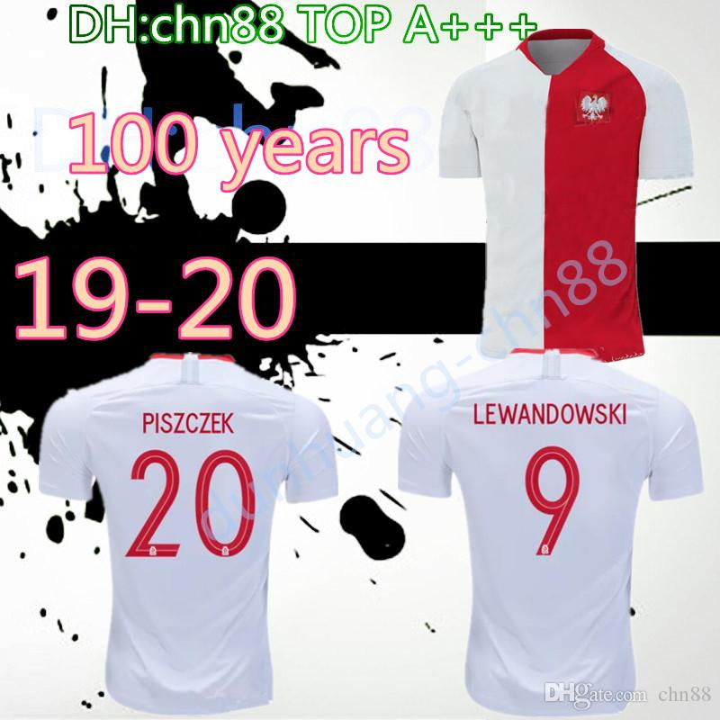 new style 1adea e3686 1919 2019 poland soccer jerseys Special-Edition 100 years Anniversary white  red 19 20 MILIK LEWANDOWSKI PISZCZEK ZIELINSKI football shirts