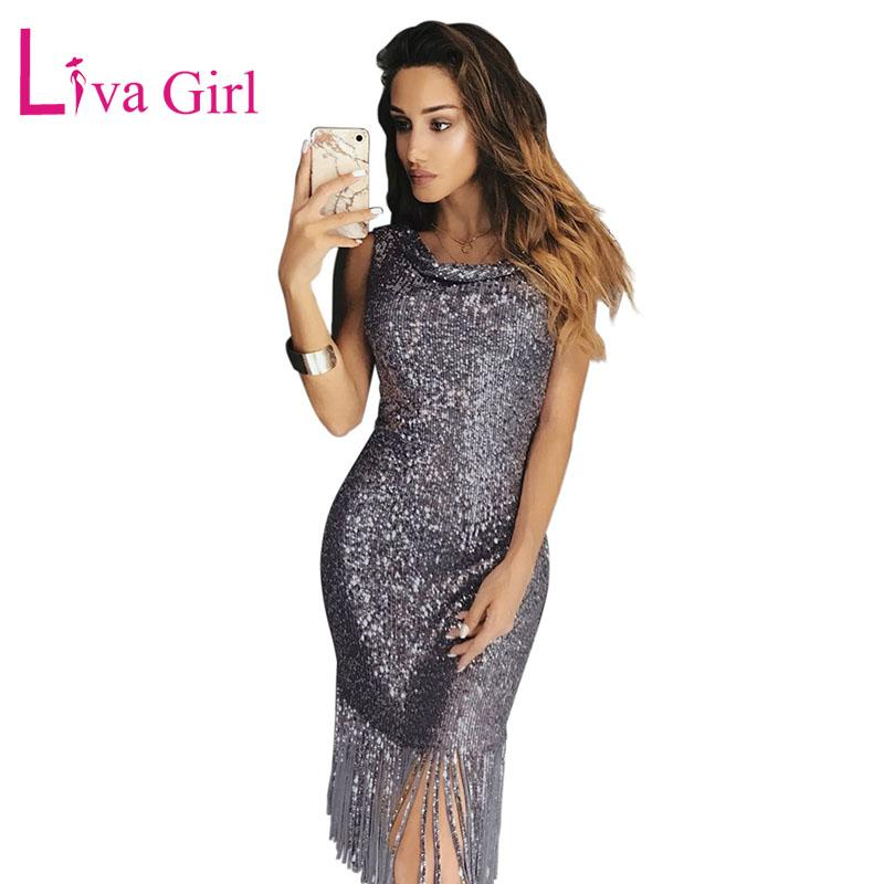 LIVA GIRL Tassel Sequin Party Dress Women Sexy Off Shoulder Bodycon ... 8b2b8d3d9038