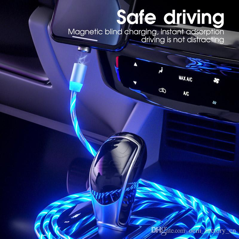 유형 C USB 케이블 고속 충전기 LED 흐르는 빛 자기 케이블 빠른 충전 라인 3FT 2A 마이크로 충전 코드 삼성 A71 Izeso