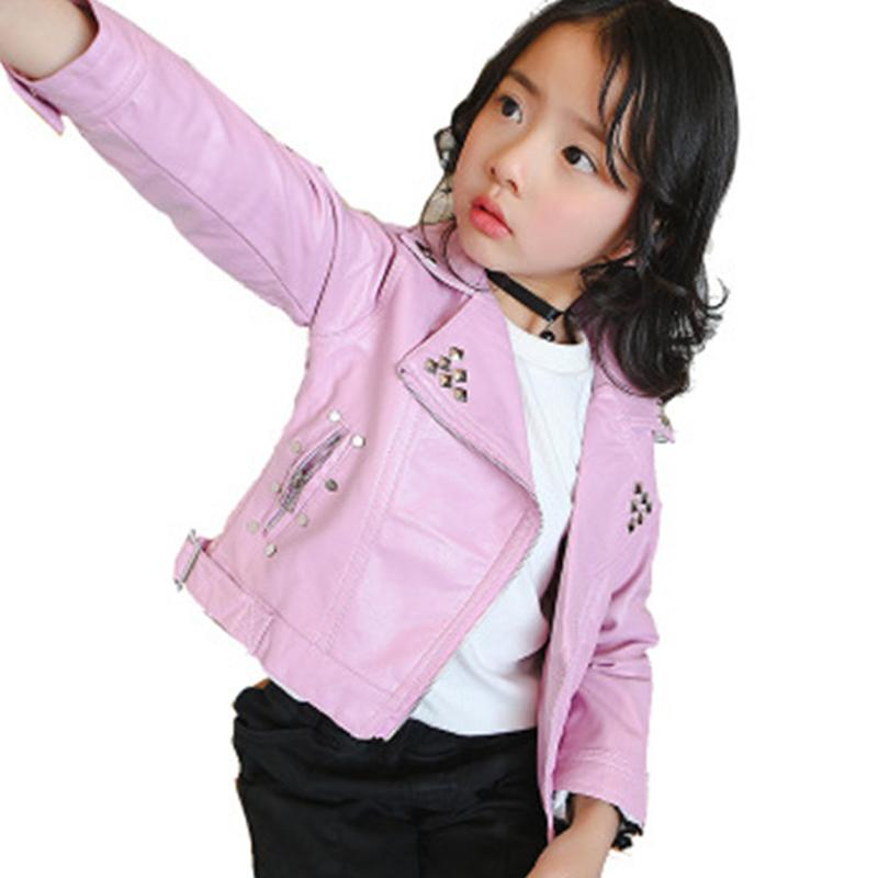 242ecf49b0d0 2019 Girls Spring Autumn Jacket 2 7 Years Old Fashion PU Jacket Coat ...