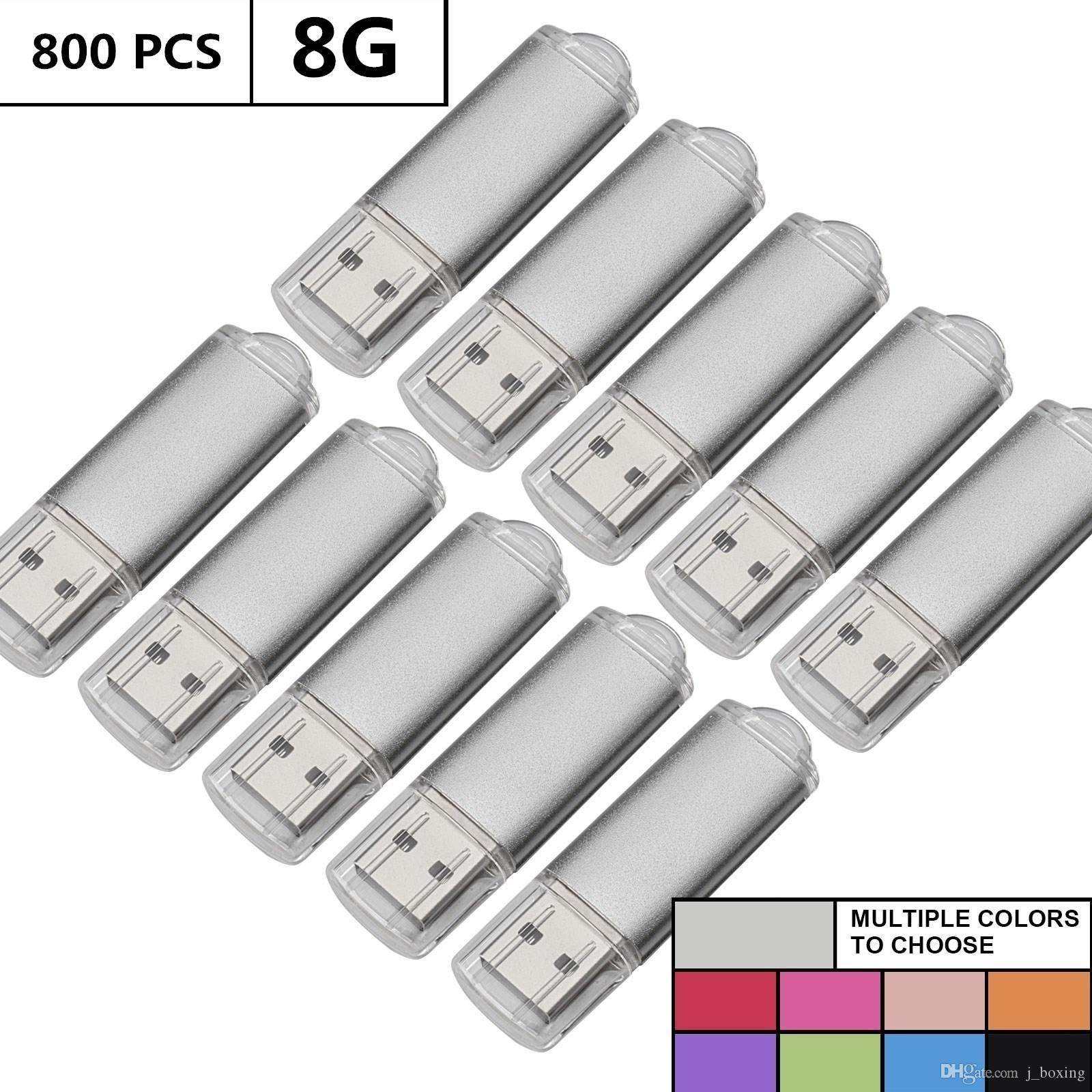 Wholesale Bulk 800PCS 8GB USB Flash Drives Rectangle Memory Stick Storage Thumb Pen Drive Storage LED Indicator for Computer Laptop Tablet