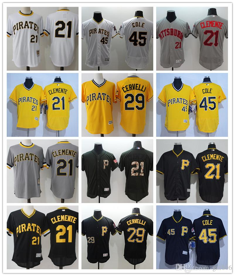 sale retailer 1b579 b6bc9 custom Men s women youth Pittsburgh Pirates Jersey #21 Roberto Clemente 29  Francisco Cervelli 45 Gerrit Cole Baseball Jerseys