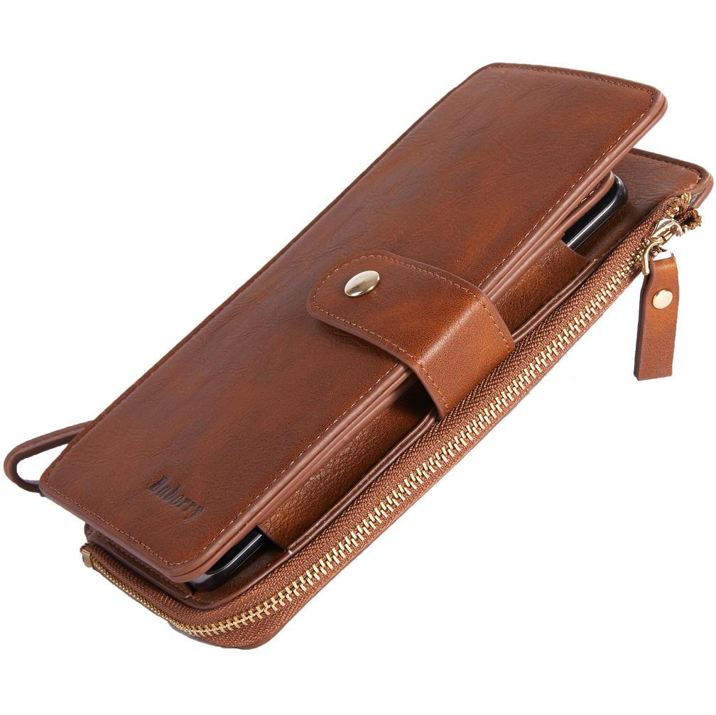 Man Male PU Leather Long Mobile Phone Clutch Wallet Bags With Straps Zipper Coin Purse Function Credit Bank ID Card Case Holder