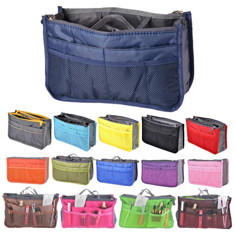 864560dfc266 Organizer Insert Bag Women Nylon Travel Insert Organizer Handbag Purse  Large liner Lady Makeup Cosmetic Bag Cheap Female Tote
