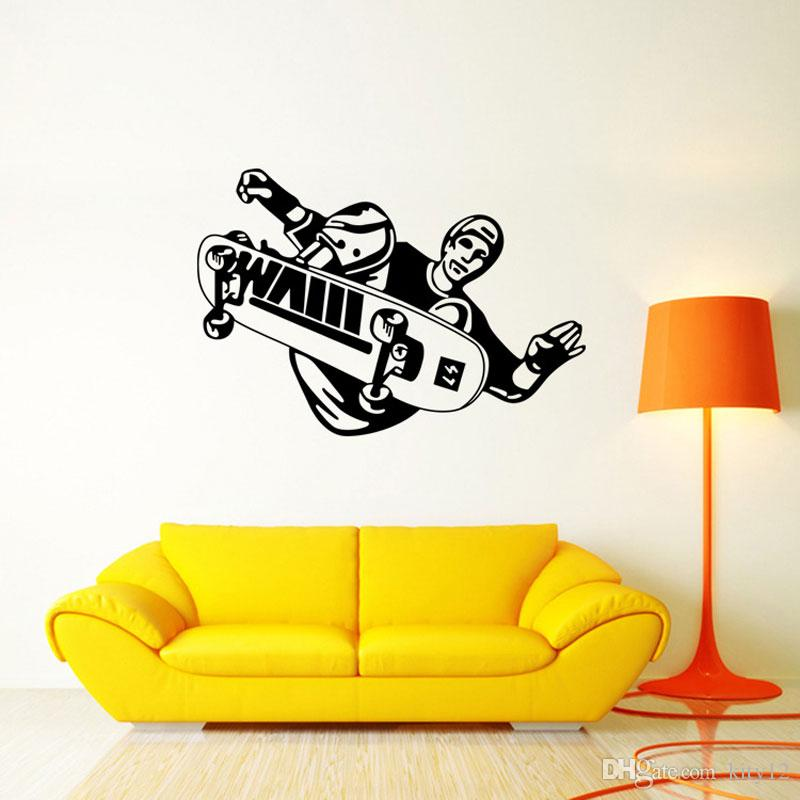 New Skateboarding Vinyl Wall Decal Home Decoration Boys Room Art Mural Sports Figures Wall Stickers Free Shipping
